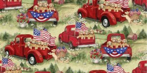 Patriotic Puppies In Red Truck